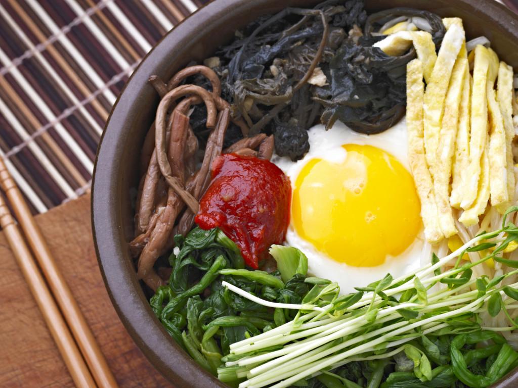 Bi Bim Bap, Mixed Vegetable over Rice, Korean Cuisine