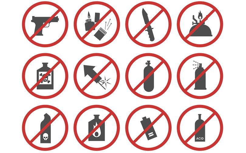 Itens proibidos no avião