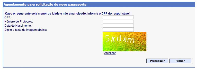 Formulário para agendamento do passaporte!