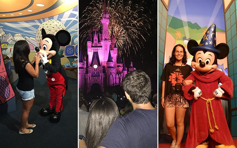 Montagem com turistas no Walt Disney World.