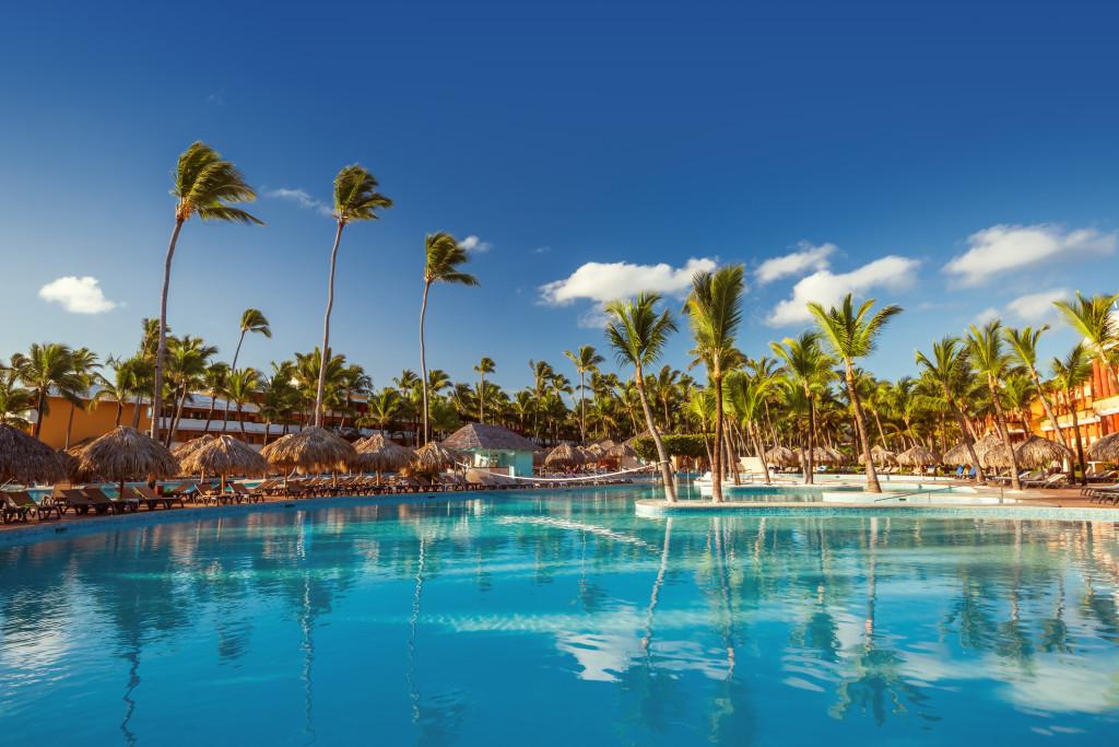 Beautiful swimming pool in tropical resort , Punta Cana, Dominic