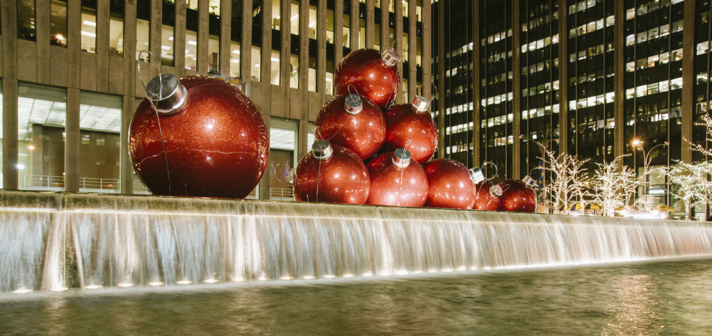 Big Christmas balls in New York City